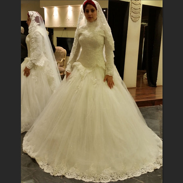 Muslim Long Sleeve Ball Gown Pretty Wedding Dress Beaded New Lace Tulle