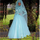 Arab Muslim Wedding Dresses With Long Sleeved Lace Appliques Crystal Belt A Line Light Blue