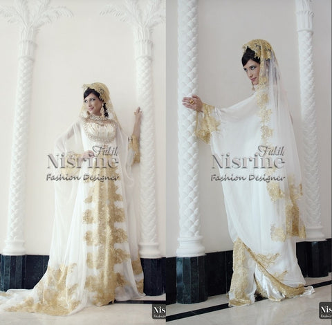 A-line Arabic Wedding Dress Metallic Embroidered Lace Over Satin Long Sleeve Muslim Wedding Gown Islamic Bridal Gown