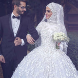Muslim Wedding Dresses Long Sleeve Lace Beaded Turkish Islamic Women Bridal Gown With Hijab