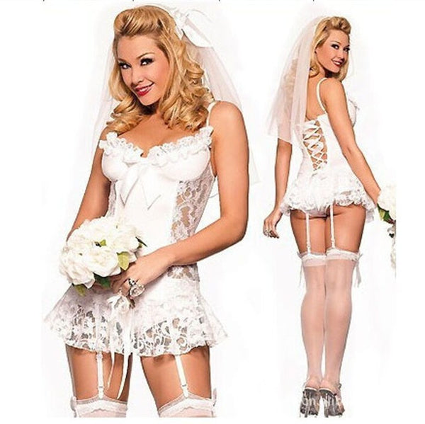 Bridal Cosplay Unpadded Sexy Intimates Sexy Lingerie hot Women Underwear Nightgowns Robe Sleepwear Sexy Costumes