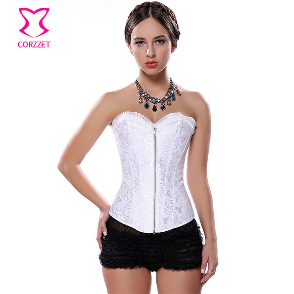 2f1f464628b White Wedding Bustier Steel Boned Waist Trainer Corset Zipper Corpetes E  Espartilhos Sexy Corsets and Bustiers
