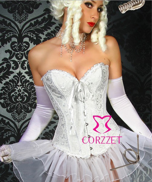 2875 White Jacquard Steel Boned Overbust Corset Sexy Bridal Lingerie Waist Slimming Corsets and Bustiers Korsett For Women