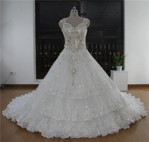 2017 Ball Gown Dubai Dress  Free Shipping Elegant Crystal Wedding Dresses Vestido De Noiva Lace Layers RT17