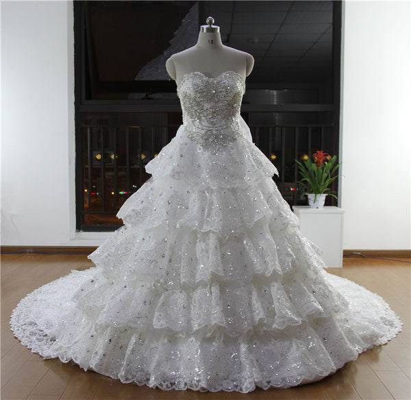 2017 Ball Gown Strapless Dubai Dress Elegant Crystal Wedding Dresses Long Train Vestido De Noiva Free Shipping RT20