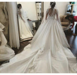 Arabic Luxury Long Train Satin Wedding Dresses Long Sleeves 2016 New Model