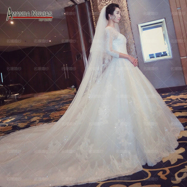 2016 New Bride Princess White Lace Luxury Crystal Wedding Dress Soft Lace Crystal
