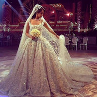 Luxury Princess Scoop Neck Vintage Wedding Dress with Chapel Train Diamonds & Crystals Bridal Gowns