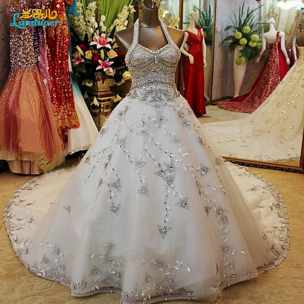 Beaded Halter Wedding Dress Ball Gown Corset Back Crystals sequins Bride Dress