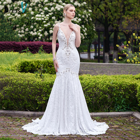 Dressv 2017 white lace long mermaid sexy backless wedding dress beading V-Neck court train sleeveless wedding dress bridal gown