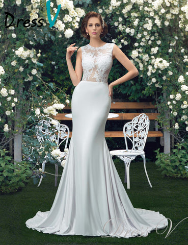 Charming Beach/Garden Wedding Dresses 2017 Trumpet  Sexy See Through Lace Top Scoop Bridal Gowns Vestido de Noiva Plus size