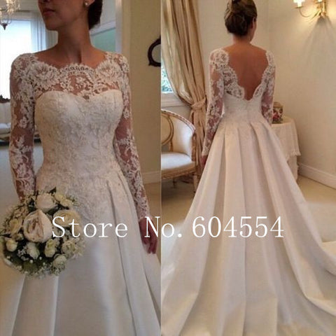 2017 Stock Vestido De Noiva  US Size 4~22 White/Ivory Applique Long Sleeve A-Line Lace Wedding Dress Robe De Mariage