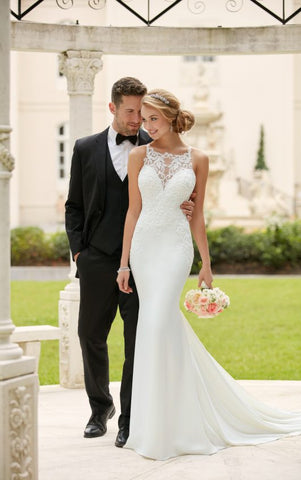 Elegant Appliques Lace Mermaid Wedding Dresses 2017 Bridal Dresses Scoop Off Shoulder Button Back Sweep Train Vestido De Noiva