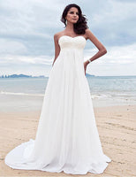 ADLN 2017 In Stock Chiffon Empire Wedding Dresses With Appliques Sweep Train Vestidos de Novia Pregnant Woman Beach Bridal Gown