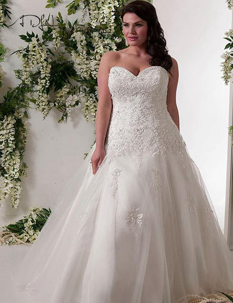 ADLN Luxurious Corset Plus Size Mermaid Wedding Dress 2017 Sweetheart Tulle Applique Bridal Gown Vestidos de Novia