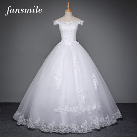 Fansmile Plus Size Bridal Ball Lace Wedding Dresses 2017 White Anna Campbell Wedding Dress Gowns Robe de Mariee Free Shipping
