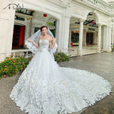 ADLN Hot Sale Luxury Soft Tulle Hand Made Flower Sweetheart Beads Crystal 1.5 m Royal Train Custom Size Wedding Dresses 2017