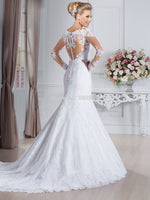 Long Sleeve Mermaid Lace Wedding Dresses Court Train