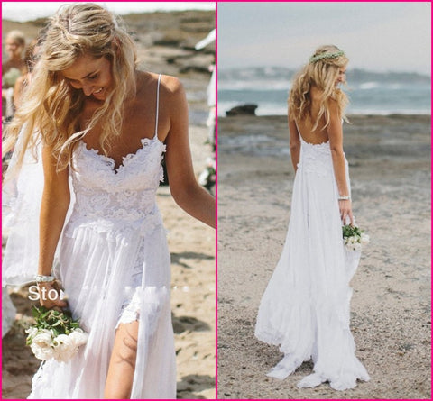 Stunning Vintage Boho White Beach Low Back Wedding Dresses 2016 Gowns Chiffon Dreamy Spaghtti Straps Slit Short Lace in Front