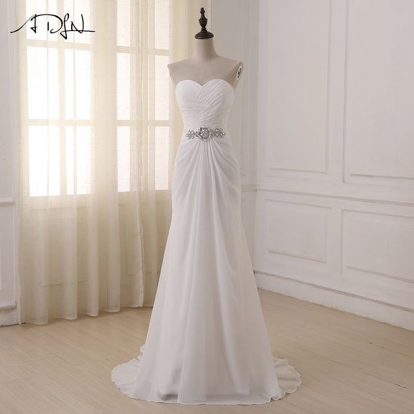 ADLN Wedding Dresses Sweetheart Sleeveless Vestidos de Noiva Sexy Sweep Train Summer Beach Bridal Gowns Plus Size In Stock