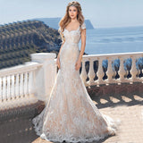 2017 New Arrival Elegant Modern Sexy Mermaid Style Wedding Dresses Vestido De Noiva Backless Customized Beach Wedding Gown Lace