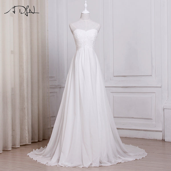 ADLN In Stock White / Ivory Chiffon Beach Wedding Dresses Vestido De Noiva Sweetheart A-line Bridal Gowns with Zipper Back