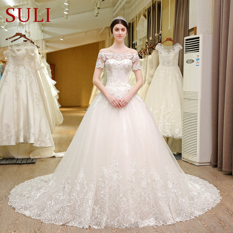 SL-5T Boat Neck Wedding Gowns Lace Short Sleeve Muslin Boho Wedding Dress Turkey 2017