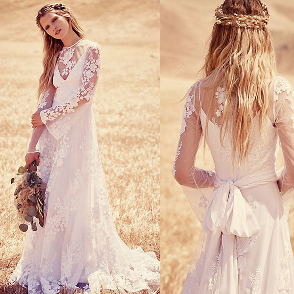 2016 Pretty Lace Boho Beach Wedding Dresses With Long Sleeve Sheer Neck Bohemian Bride Bridal Gown