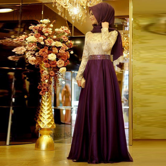 2016 Muslim Evening Dresses Long Sleeve Purple Green Embroidery Hijab  Islamic Dubai Abaya Kaftan Prom Dress f5a261ba26e1