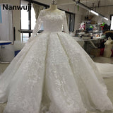 2017 New Luxury Long Sleeve Muslim Wedding Dress Ball Gown Style High Neck  Ruffers