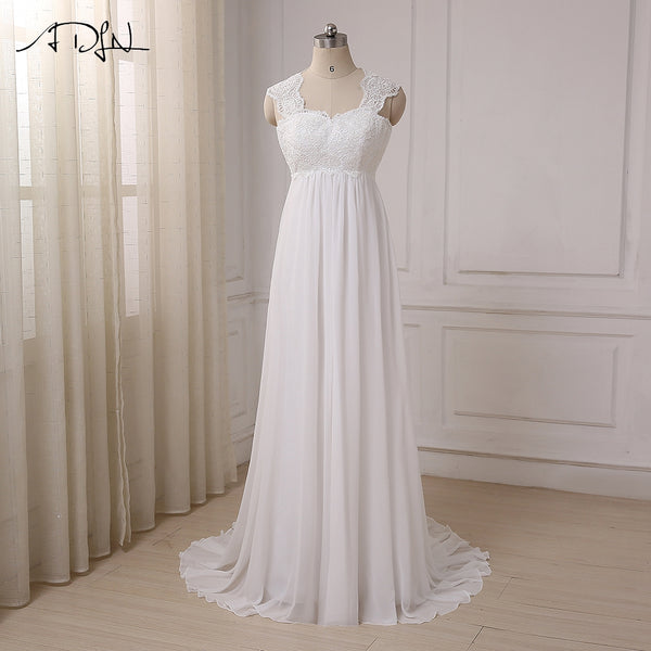 ADLN 2017 In Stock Chiffon Beach Wedding Dresses Vestido De Noiva Cap Sleeve Empire Lace-up Back Pregnant Bridal dress