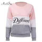 ArtSu women fleeve hoodie printed letters Different women's casual sweatshirt