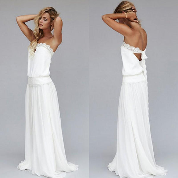 2016 New Unique Beach Wedding Dresses Cheap Dropped Waist Bohemian Strapless Backless Boho Bridal Gowns Lace Ribbon Custom Made