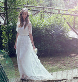 2016 Lace Bohemian Romantic Style Wedding Dresses Short Sleeve Boho Chic Beach Wedding Dress Bridal Gowns Vestido De Noiva