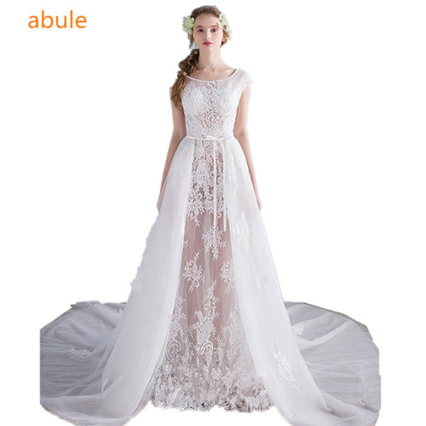 abule Sexy lace Transparent wedding dress o-neck Can be disassembled vestido de noiva now beach 2017 very nice Bridal Gowns