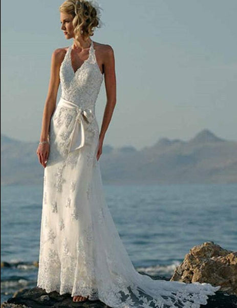 Beaded Lace Appliques Tulle Vintage Beach Wedding Dresses 2016 Halter Informal Boho Bridal Gowns Sexy vestido de noiva