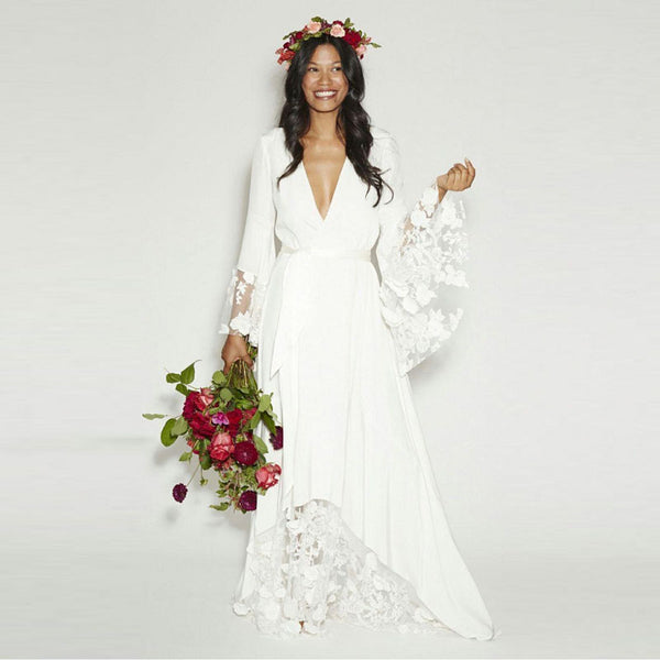 2017 New Fashion BOHO Bohemian Wedding Gowns Hippie Style Beach Wedding Dresses Long Sleeves V Neck Lace Plus Size Bridal Dress