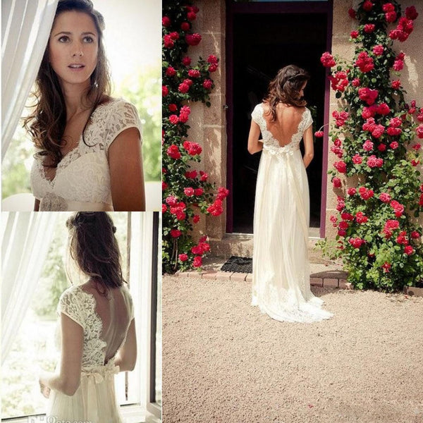2017 Beautiful V-Neck Backless Cap Sleeves  White/Ivory Boho Chic Lace Beach Wedding Dresses