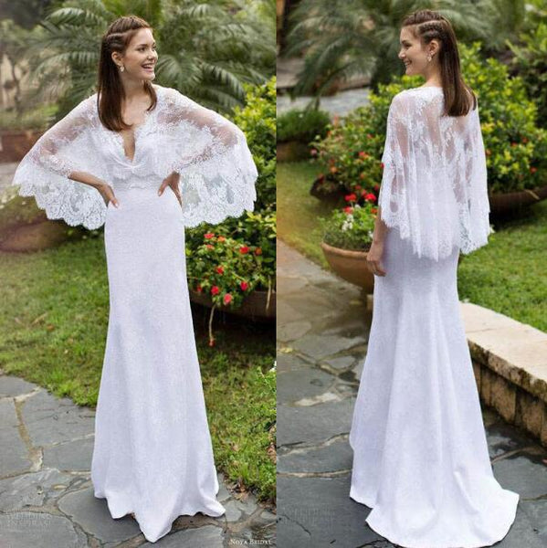 2016 New Lace Beach Wedding Dress with Detachable Cloak V Neck Sheath Bridal Gowns Cape Boho Garden Country Vintage Bridal Dress