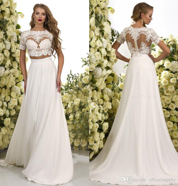 2017 Romantic Two Pieces Bohemian Wedding Dresses Lace Crop Chiffon Sweep Train Beach Boho Bridal Gowns
