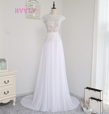 Vestido De Noiva 2017 Beach Wedding Dresses A-line Cap Sleeves Backless Sash Chiffon Lace Vintage Wedding Gown Bridal Dresses
