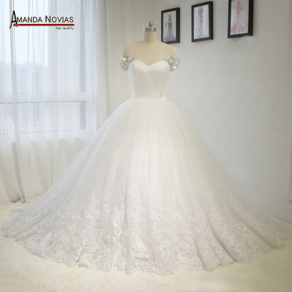 2016 Newest Model Hot Sale Puffy Ball Gown Wedding Dress With Cap Beading Sleeves Noivas Dress