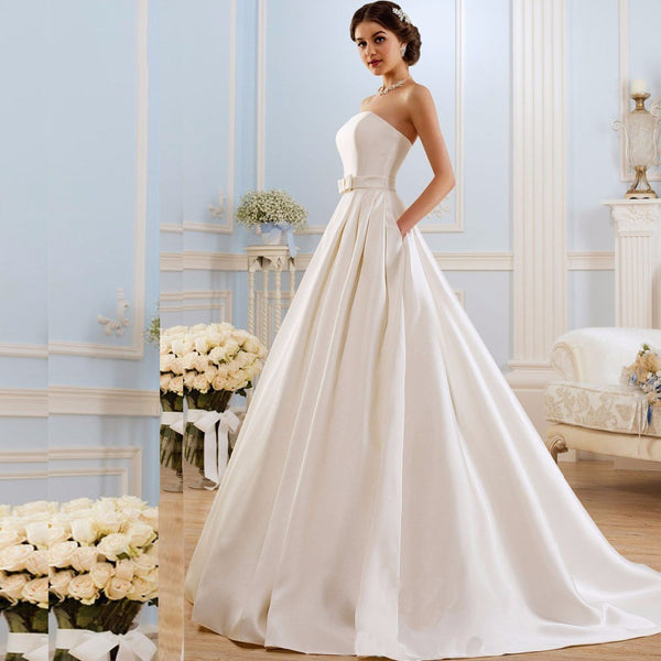 A Line Wedding Dresses 2017 Vintage Pockets Bow China Vestidos De Novia Backless Plus Size Button Bride Bridal Gowns