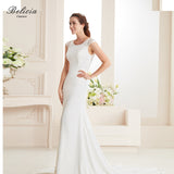 Belicia Couture Women Lace Crepe Stain Mermaid Gown Beading Wedding Dresses
