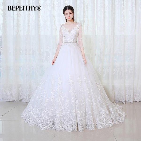 BEPEITHY Ball Gown Princess Wedding Dress Full Sleeves With Belt Vestido De Novia 2017 Lace Vintage Bridal Dresses Casamento
