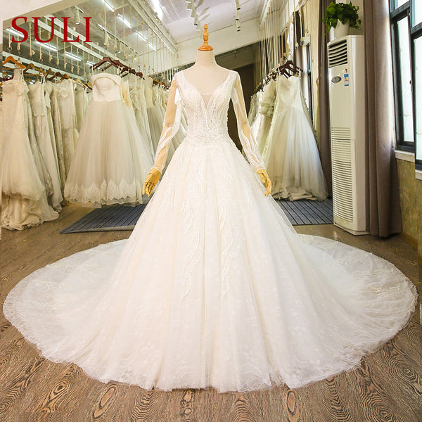 SL-79 Luxury Cathedral French Lace Bridal Gown Muslim Boho Wedding Dress Long Sleeve