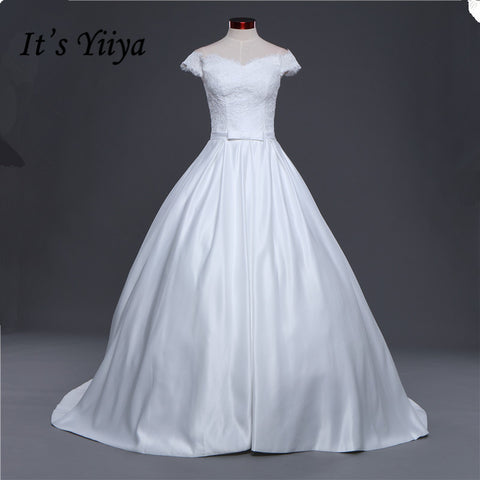 New Boat Neck Stain Lace Trailing Wedding Frocks White Quality Train Wedding Dresses Bride Gowns Vestidos De Novia IY014