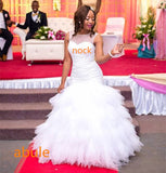 abule Wedding Dress long train 2017 African White Beading Tiered V-Neck Custom Made Bridal Gown Plus Size Vestido De Noiva