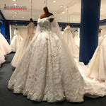 2018 Luxury Wedding Dress Long Train Arabic Shinny Wedding Bridal Dresses New