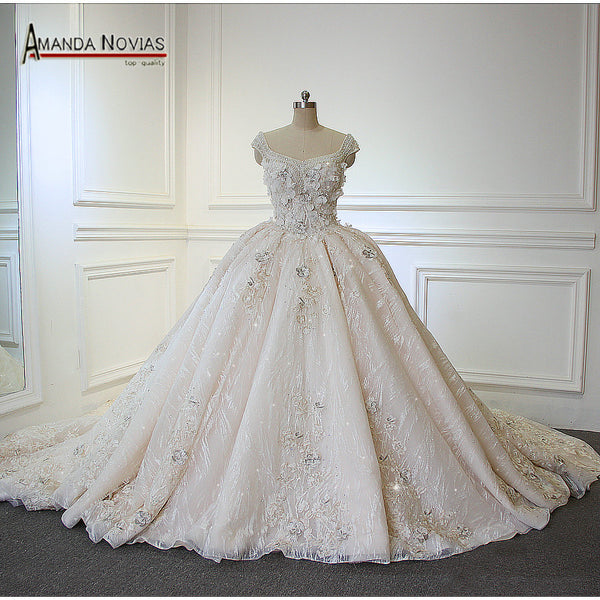 Luxury Flowers Lace Beading Princess Wedding Dresses 2018 New Model